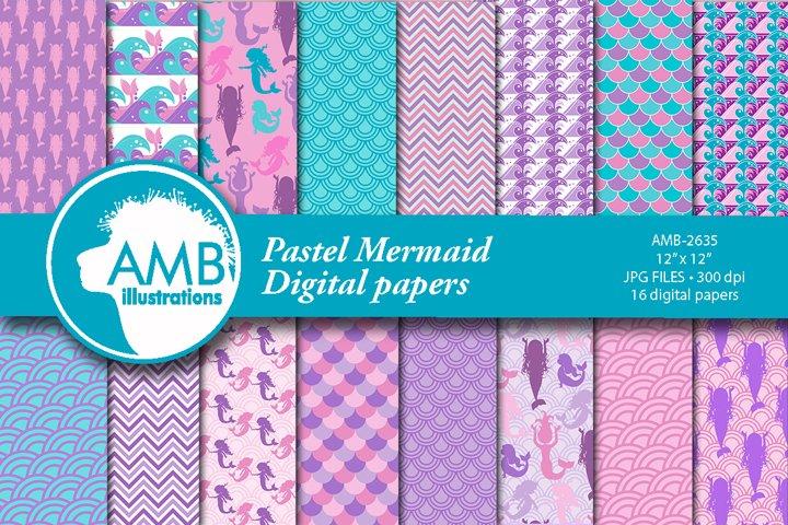 Pastel Mermaid Digital Papers AMB-2635