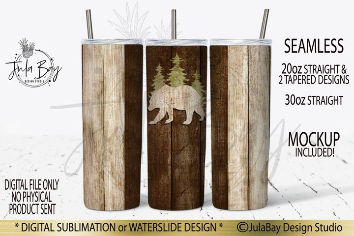 Woodgrain Bear 20oz Skinny Tumbler Design for Men Hiking PNG
