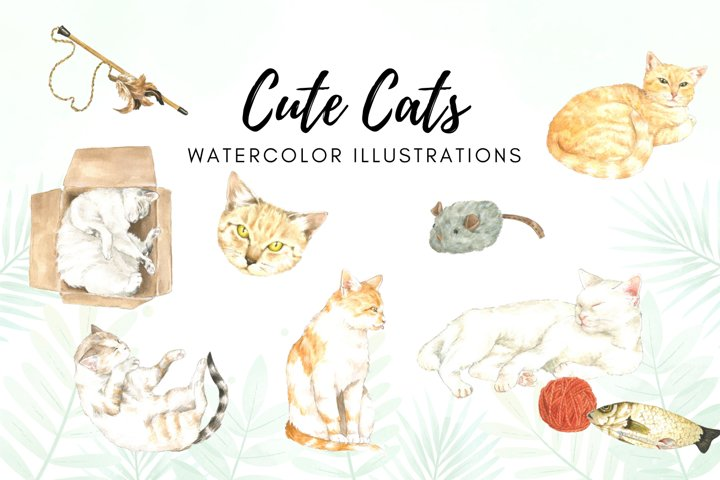 Watercolor Cats Illustration, Kittens Watercolor Designs