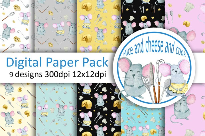 Watercolor mouse seamless digital paper pack
