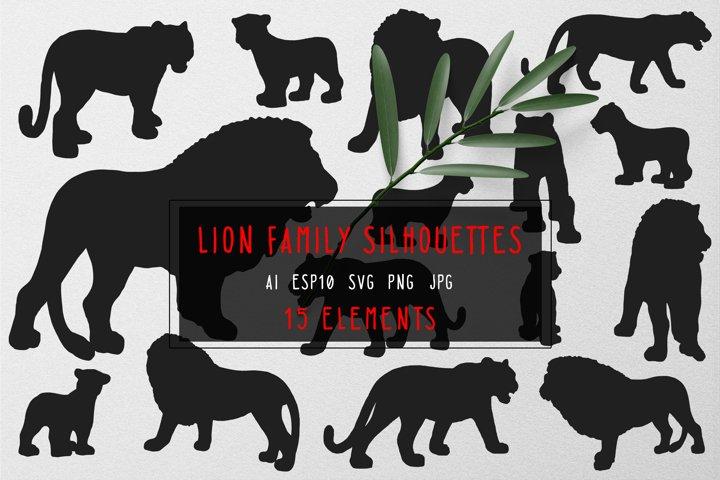 Lion family silhouettes
