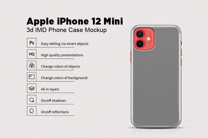 Apple iPhone 12 mini 3d Phone Case Mockup Back View