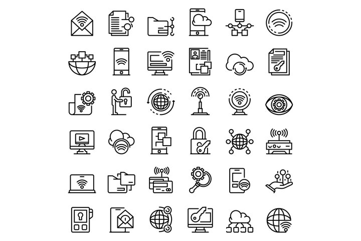 Remote access icons set, outline style