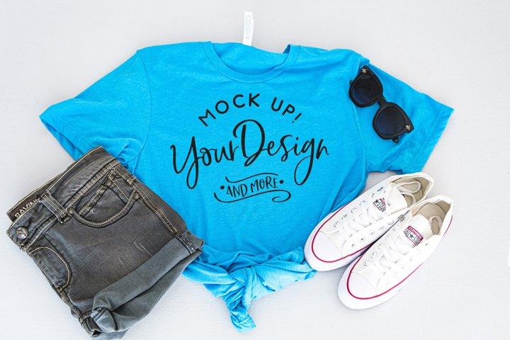 Shirt Mockup - Bella Canvas 3413 Aqua Triblend