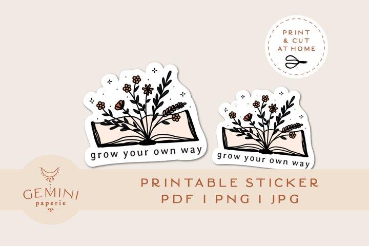 Printable Sticker   Floral Water Bottle Sticker for Cricut