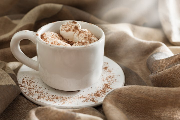 Morning cup of coffee with marshmallows