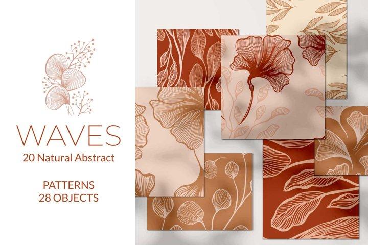 Waves - Abstract Seamless Patterns, Vector EPS, JPEG, PNG