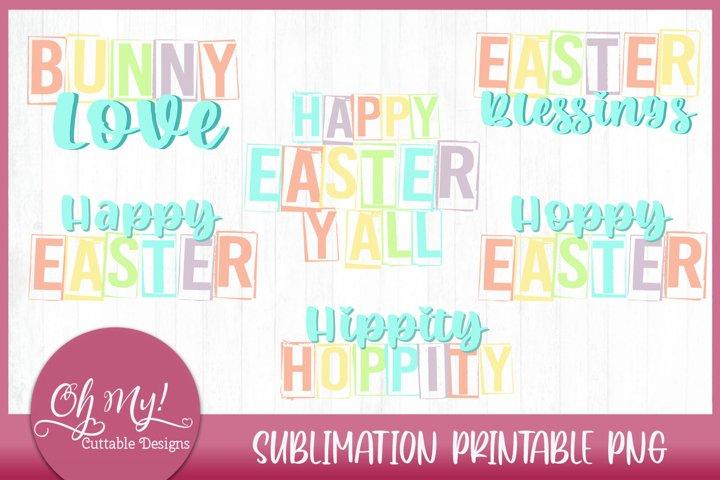 Pastel Easter Sublimation Printable Bundle PNG