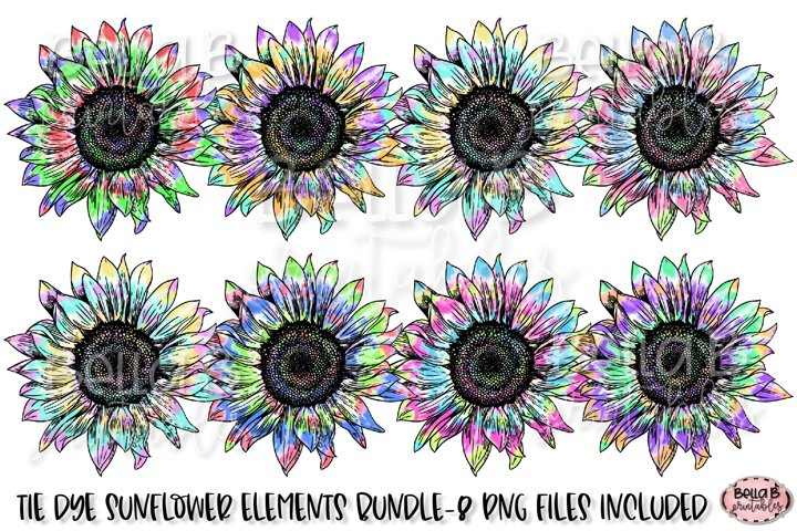 Tie Dye Sunflower Sublimation Elements Bundle - Free Design of The Week