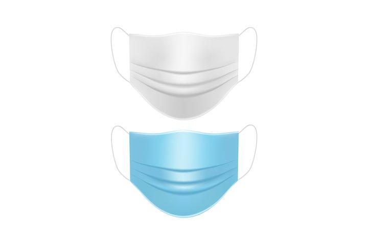 Medical face masks white and blue mockup