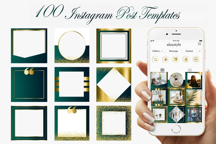 Emerald Gold Instagram Post Templates,Green Instagram frames