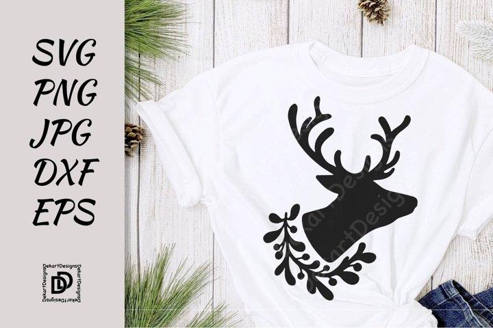 Deer SVG, Christmas Deer Head Silhouette PNG, JPG, DXF
