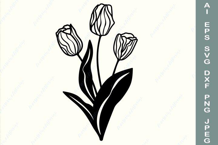 Tulip svg, Floral clipart, Flowers bouquet svg, Wildflower