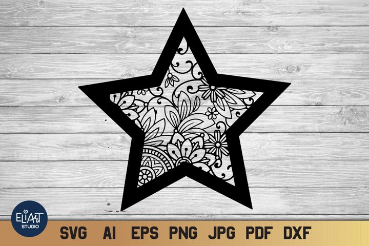 Star SVG | Floral Celestial SVG with Flowers