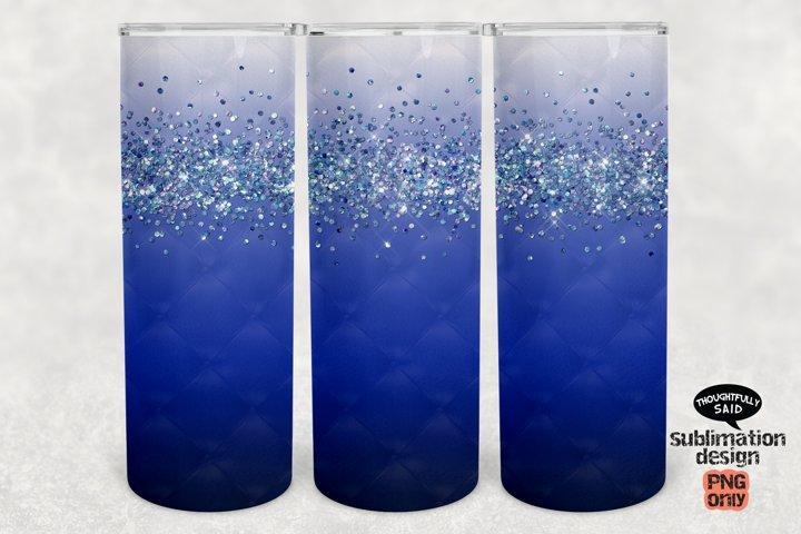 Ombre Blue Glitter 20 oz Skinny Tumbler SUBLIMATION png file