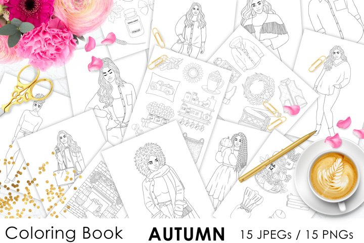 Coloring Book AUTUMN for digital or print use 15 JPEG files
