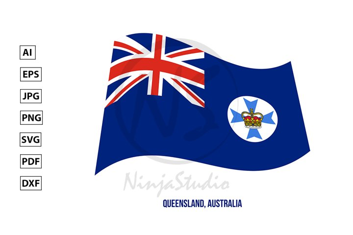 Queensland Flag Waving. States Flag of Australia