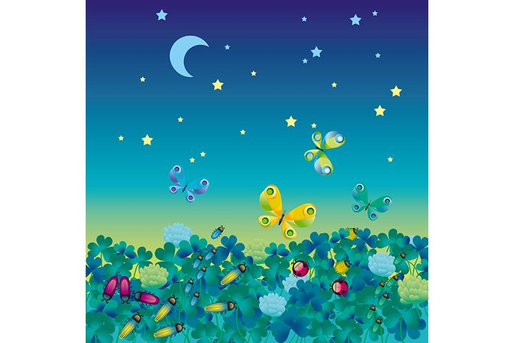 Summer night medow with bugs