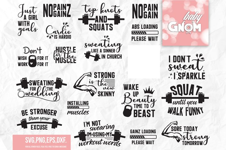 Workout SVG Bundle, Exercise Quotes, Fitness Quotes, Fitness