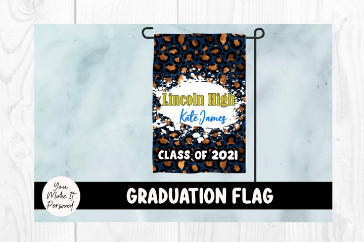Graduation Garden Flag with Bleached Leopard Design