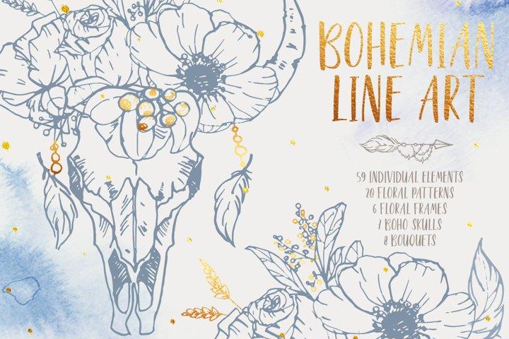 Bohemian line art