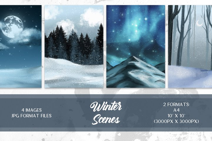 Winter Forest Clipart, Winter Scene, Winter Background