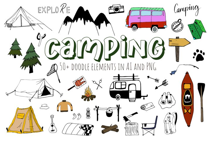 Vector Doodle Clipart Fall Camping. Adventure set