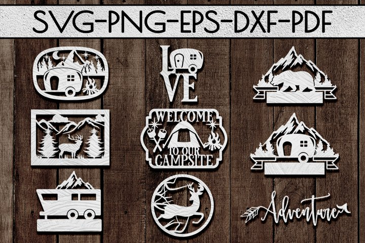 Camping Sign Papercut Templates Bundle, Adventure SVG, DXF