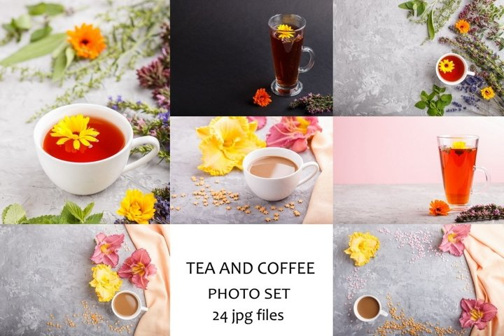 Cup of herbal tea and coffee decorated with flowers.