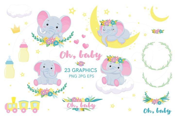 Elephants baby clip art