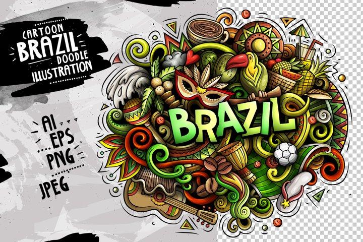 BRAZIL Cartoon Doodle Illustration