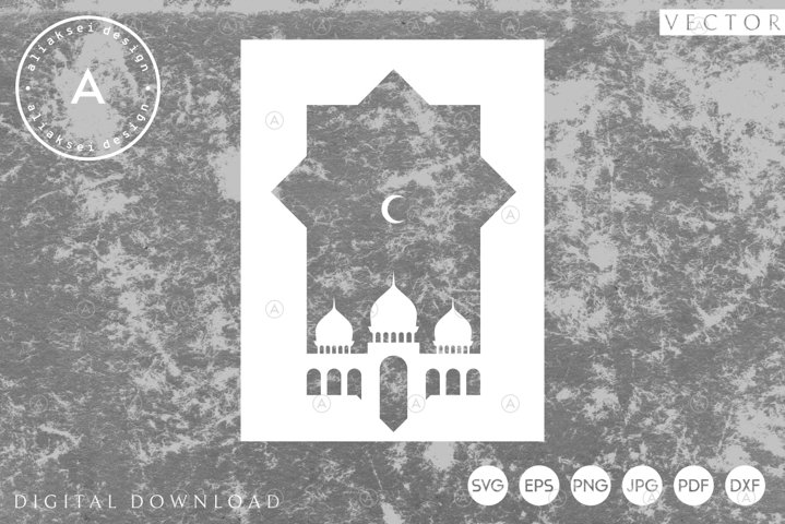 Ramadan | Greeting Card with Mosque and Moon Svg