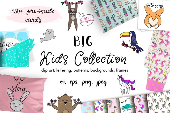 BIG Kids Collection. Clip Art, Patterns, Lettering.