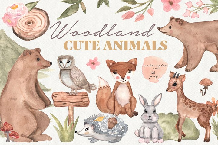 Woodland cute animals, Watercolor set, baby animals