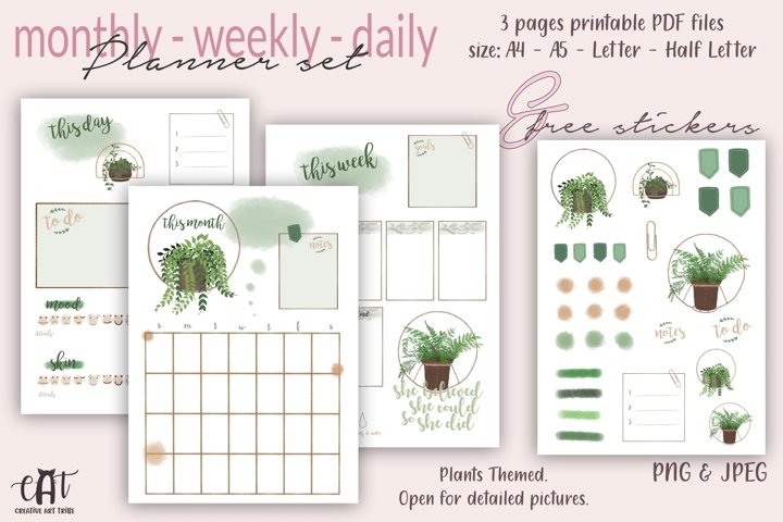 Printable Planner plus Free Stickers, Plants Planner, PDF