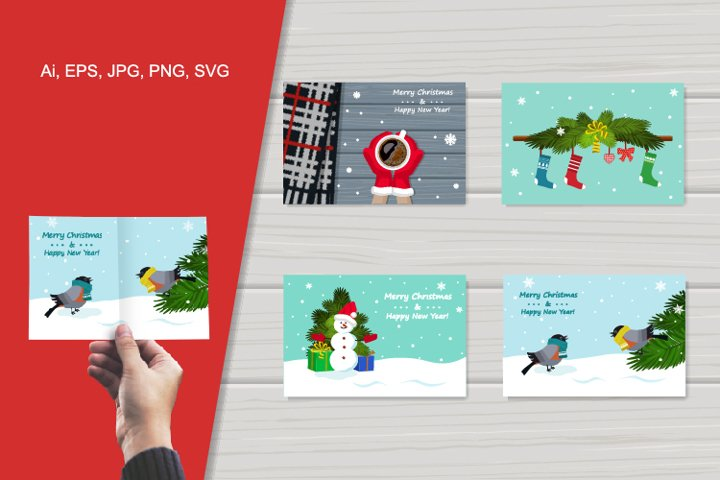 Vector set of greeting cards on theme of Christmas