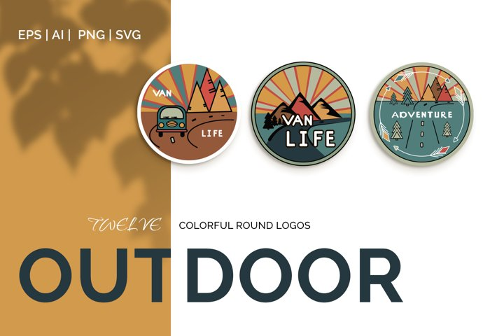 Outdoor Travel. Set of twelve colorful round logos.