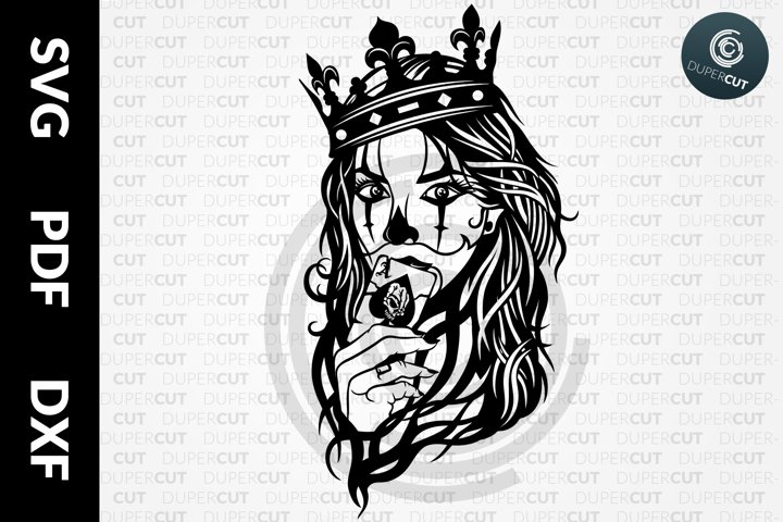 SVG / PDF / DXF Card Queen, Papercutting Template