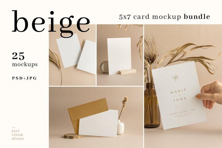 Beige - 5x7 Card Mockup Bundle