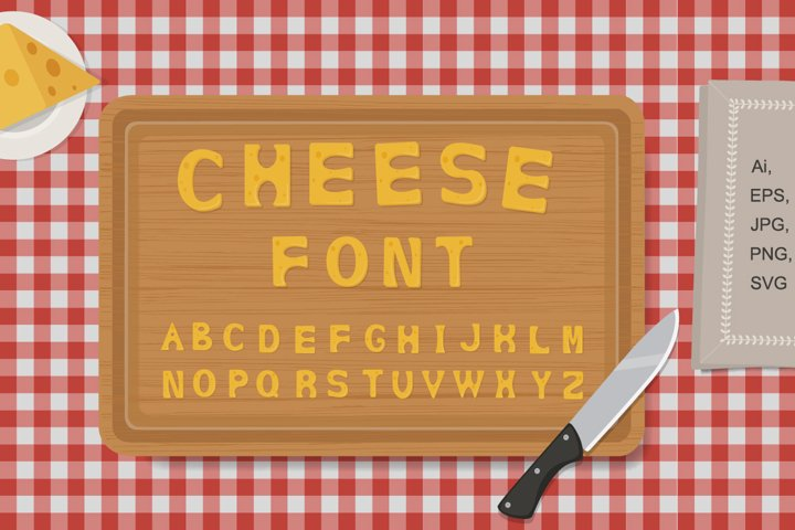 Cheese funny alphabet. Cute letters in serving