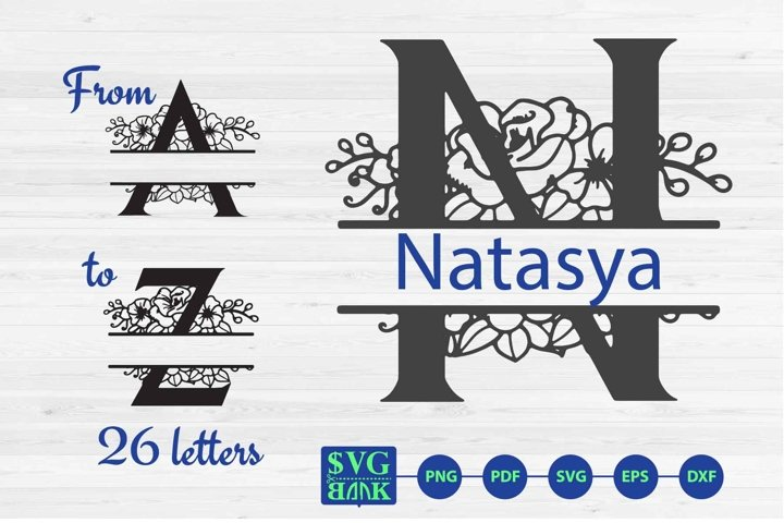 Split monogram letters A-Z Svg, 26 Alphabet floral initials