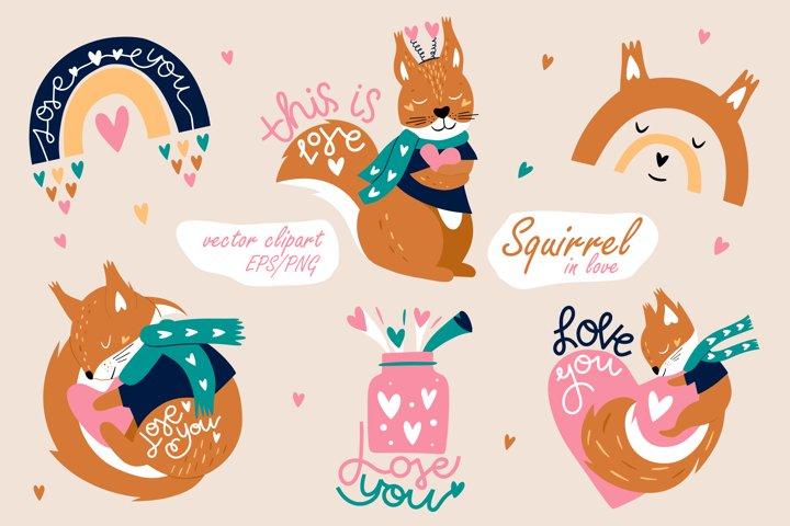 Squirrel & Rainbow. Kids clipart. Valentines day print