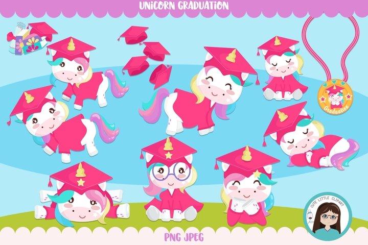 Unicorn graduation clipart