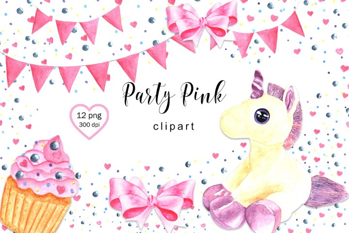 Watercolor Clipart Unicorn, Party Pink Clipart, Unicorn