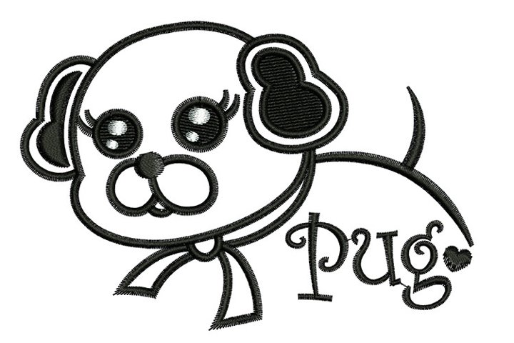 Puppy Pug machine embroidery designs