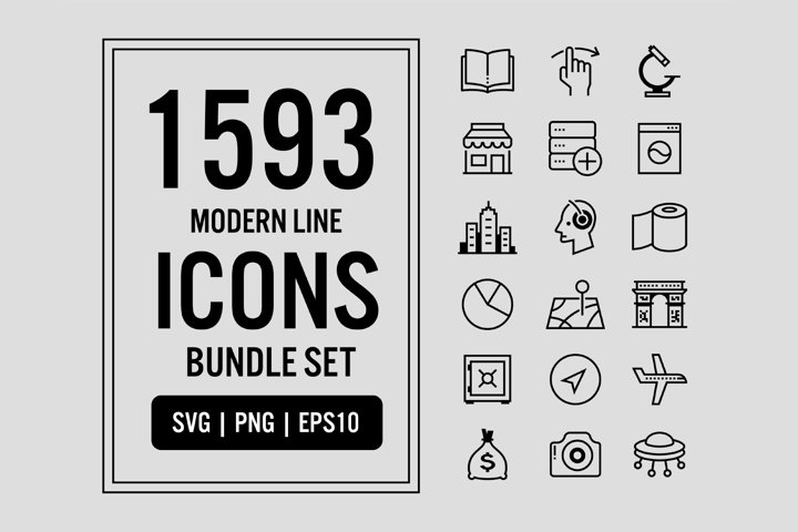 1593 Modern Line Icons Bundle Set Pack SVG PNG EPS Vector