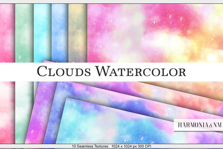 Clouds Watercolor Paper 10 Seamless Textures