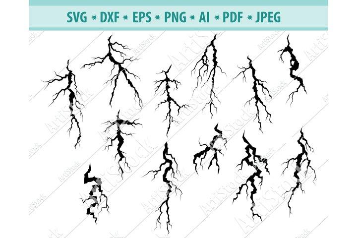 Cracks Svg, Lightning SVG,Cracks Clipart Svg, Png, Dxf, Eps