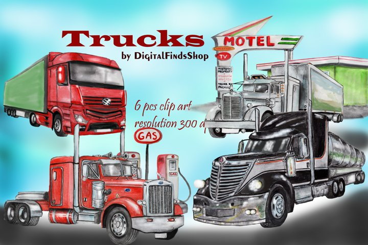 Truck clipart, old american trucks, modern trucks with motel