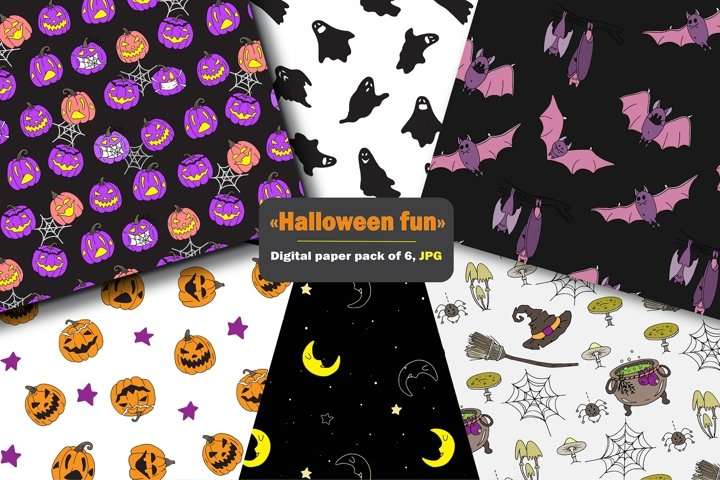Halloween digital paper, funny seamless pattern pack of 6